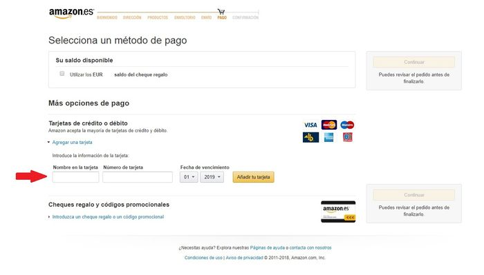 Añadir tarjeta de débito o crédito Amazon