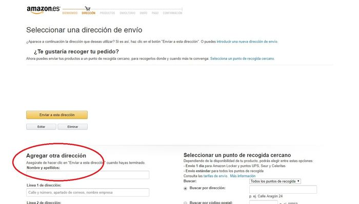 Agregar dirección Amazon