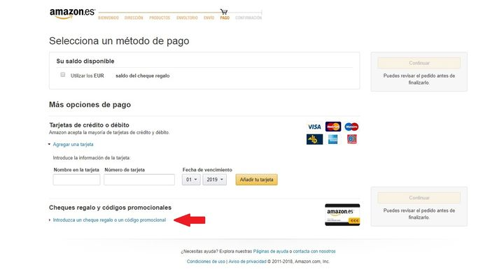 Cheques regalo y códigos promocionales Amazon