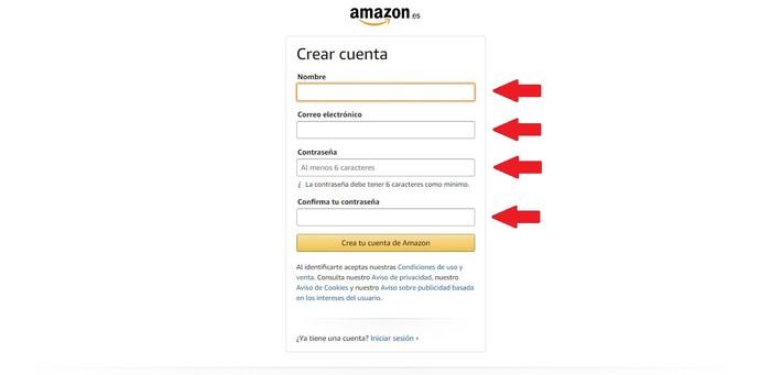 Crear cuenta Amazon