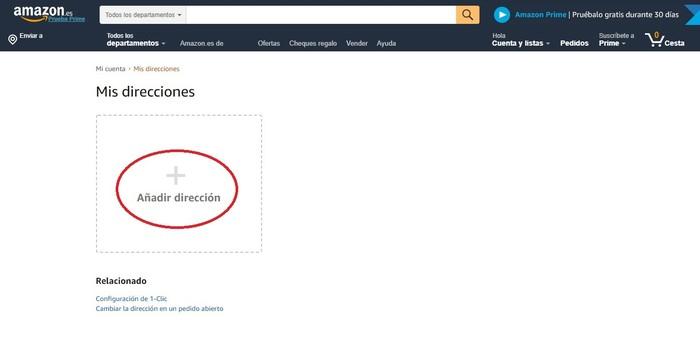 Datos de envío Amazon
