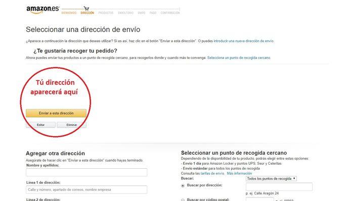 Dirección de envío Amazon