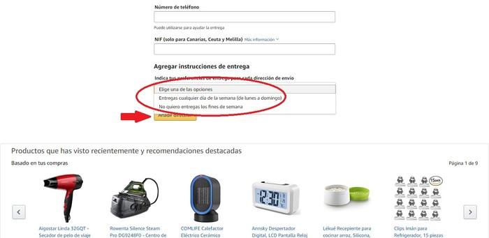 Instrucciones de entrega Amazon