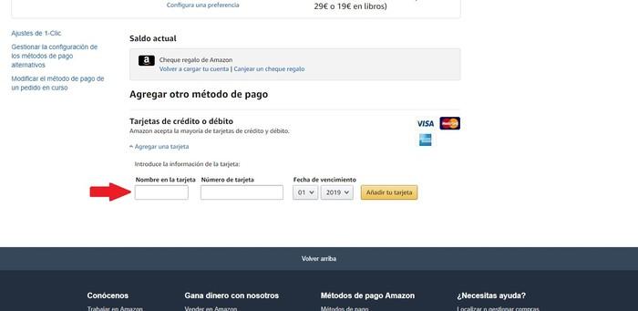 Métodos de pago Amazon