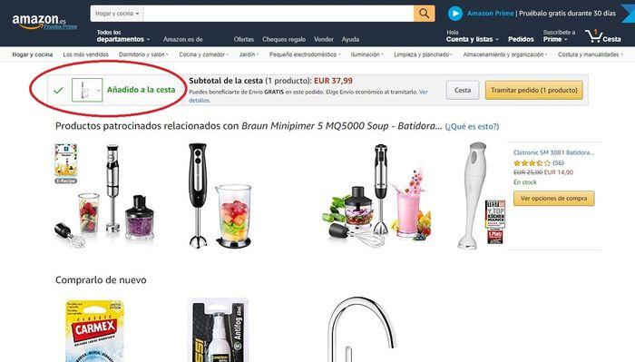 Producto añadido a la cesta de Amazon
