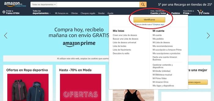 Registro de nuevo usuario Amazon